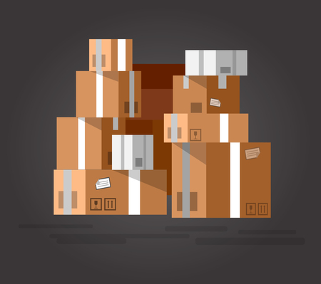 stacked: Vector Pile of stacked sealed goods cardboard boxes. Detailed mail box. Delivery box. Vector mail box. Illustration box