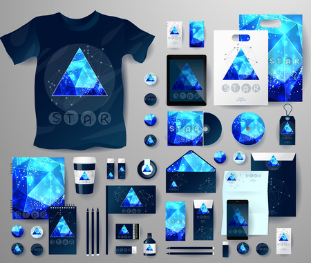 teorema: Abstract  business set in cosmic polygonal style. Corporate identity templates, notebook, card, flag, T-shirt, disk, package,  label, envelope, pen, Tablet PC, Mobile Phone, matches, ink Vectores