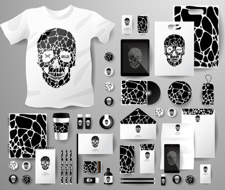 pen tablet: Abstract  business set with skull and bubble . Corporate identity templates, notebook, card, flag, T-shirt, disk, package,  label, envelope, pen, Tablet PC