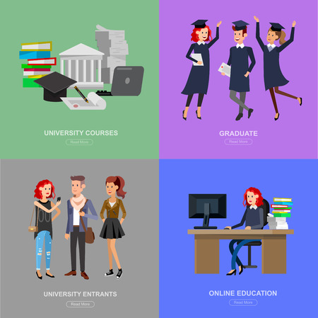 Vector character graduate and students, university students graduation. University courses, online education, exam preparation. University education banner, vector graduate, illustration graduate Illustration
