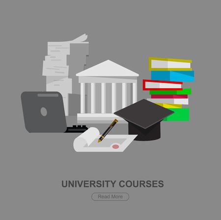 exam preparation: university graduation icon. University courses object. and icon, online education or exam preparation object. University education banner Illustration