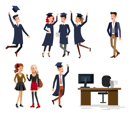 university students: Vector character graduate and students, university students graduation. University courses, online education, exam preparation. University education banner, vector graduate, illustration graduate Illustration
