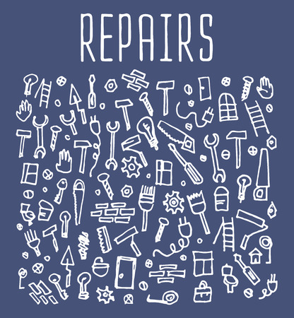 sketchy illustration: Hand drawn repairs construction tools seamless logo, repairs doodles elements, repairs seamless background. Repairs sketchy illustration