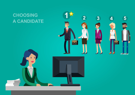 selection: Hiring process concept with candidate selection. Vector detailed character hiring process, Hiring process cool flat  illustration. Vector Hiring process concept