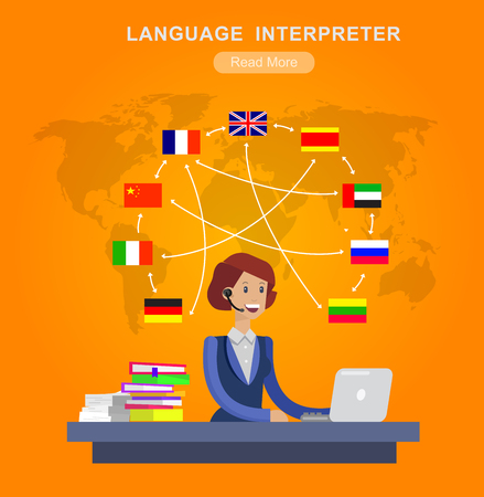 translator: Vector detailed character Language translator concept with Language translator woman and world map with flags of world languages, Language translator  illustration. Vector Language translator Illustration