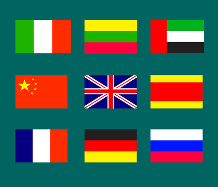 spoken: Flags of the of countries, the most widely spoken languages in the world