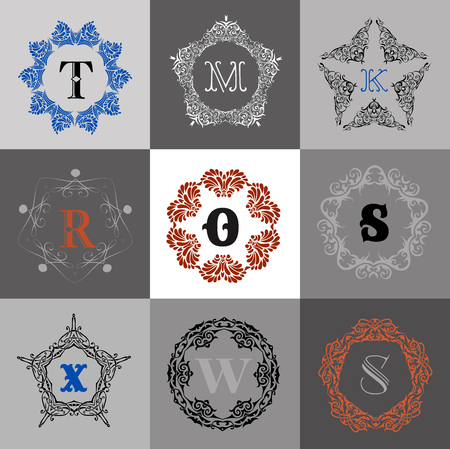 s and m: Monogram template with  calligraphic elegant ornament. Identity design with M,O,R,S,X,W letter for shop, store or restaurant, heraldic, barbershop or barber, beauty salon, justic lawyer Illustration