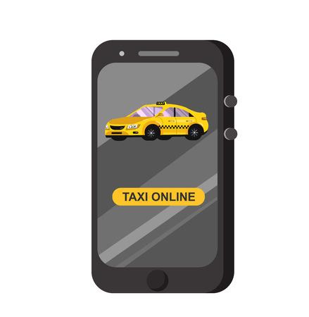 Vector moderne platte taxi online-app. Creatief infographicsontwerp Taxi online-app-service, gele taxi. Taxi-huurservice-applicatie loopt. Taxi online-app Vector Illustratie