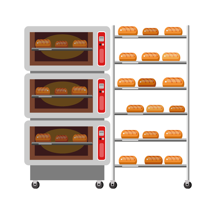 bakery oven: Equipment for baking. Kitchen appliances, bakery Oven and bread. Oven and stove. Vector icon bakery Oven and bread . bakery Oven and bread element.