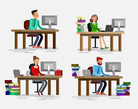 team from behind: Vector detailed character corporate business team people  sitting behind desk. Office worker. Men and women, cool flat  illustration. Vector business Office worker character