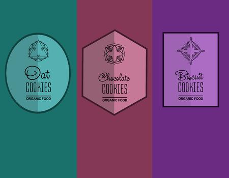 galleta de chocolate: etiqueta para galletas galletas, galletas de avena, envases de galletas de chocolate. ilustraci�n vectorial lineal Vectores