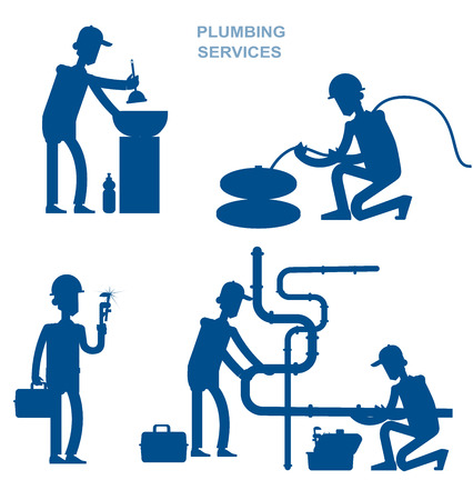 washstand: silhouette proffesional plumber men set with repair professional fixing water pipes. Concept banner plumbing servise Illustration