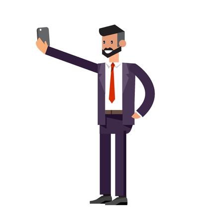 hombres ejecutivos: Vector detailed character business men make Selfie. Selfie shots business men Selfie. Selfie shot man make Selfie. Vector selfie business men, life with selfie photo camera