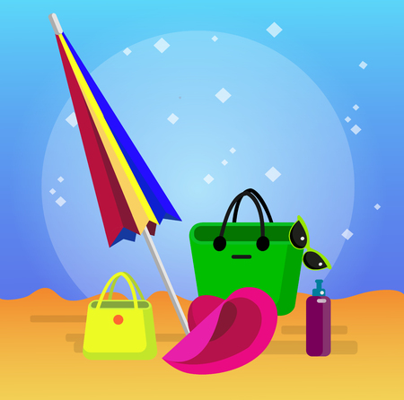 longue: beach summer objects, vector summer objects set, beach chaise longue illustration on background. Vector summer objects Illustration