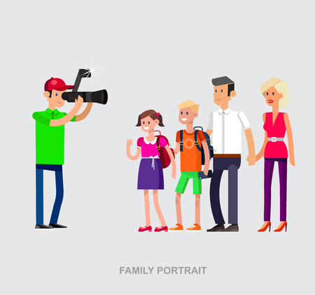 videographer: cool detailed character Photographer and videographer with camera photographs family people