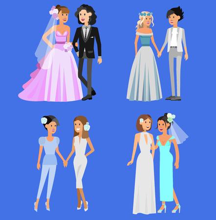 Niet-traditionele familie. Gelukkig schattig huwelijk homo lesbische homoseksueel paar. Koele homohuwelijk karakter vlakke afbeelding. Vector homo lesbische bruiloft. Homo lesbische bruiloft
