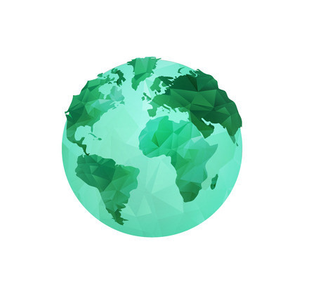 wit: World Environment Day concept wit polygonal earth globe and stylish calligraphic text. Earth Day. Eco friendly ecology concept. Flat Vector illustration.