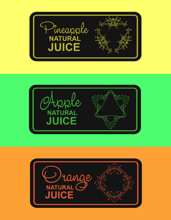 freshly: label for natural juice, freshly squeezed juice packaging. Linear vector illustration for apple juice, orange juice, pineapple juice