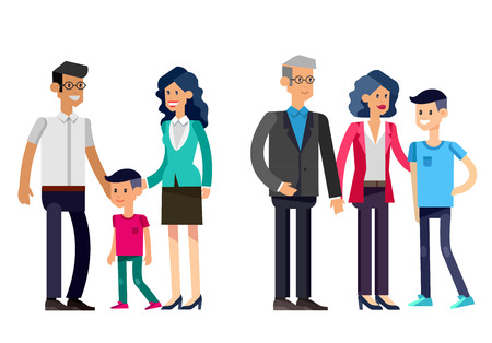 Detailed character people. Stages of life of family, young couple,  first baby, old parents and adult son. Vector family character. Illustration family people Illustration