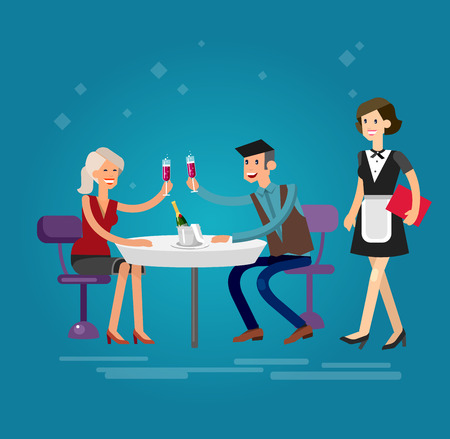 character of people: Vector detailed character people in the restaurant, service for public and personnel, couple celebrating in restaurant, restaurant waiter serves guests. Vector restaurant illustration Illustration
