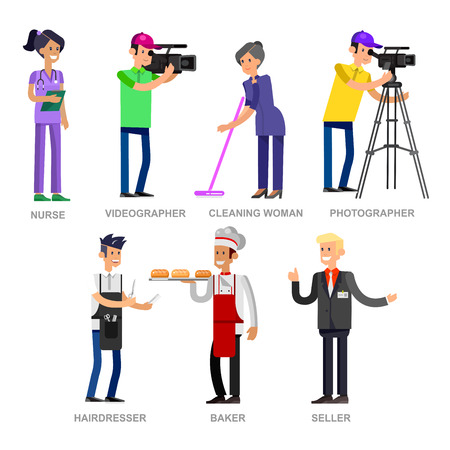 researcher: Profession people. Detailed character professionals . Illustration of character Profession people. Vector flat Profession people