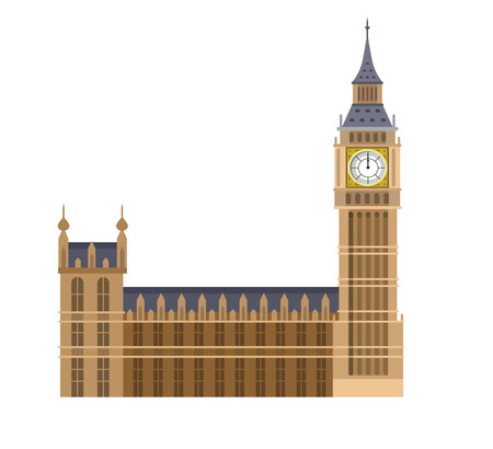 Alta calidad, detallada monumento más famoso del mundo. Ilustración del vector del Big Ben, el símbolo de Londres y el Reino Unido. vector viajar. Ilustración del recorrido. las señales del recorrido. Feliz viaje