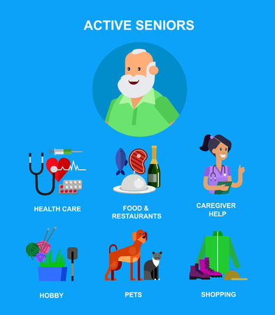 pension: vector detailed character senior, senior age. Old age man and icons. Pension hobbies and interests leisure of pensioner
