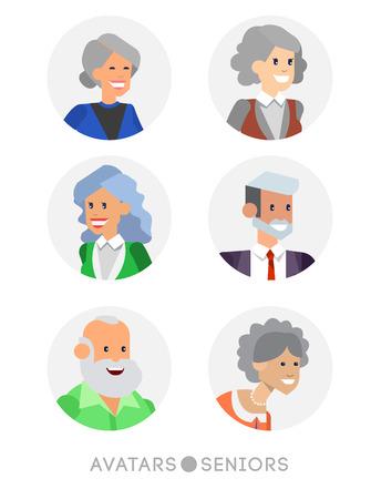 Nette Karikatur Senioren Avatare Satz, männliche und weibliche Senioren, alte Menschen Gesichter Sammlung. Vector detaillierte Senioren Avatare, alte Menschen Avatare, Senioren Avatare