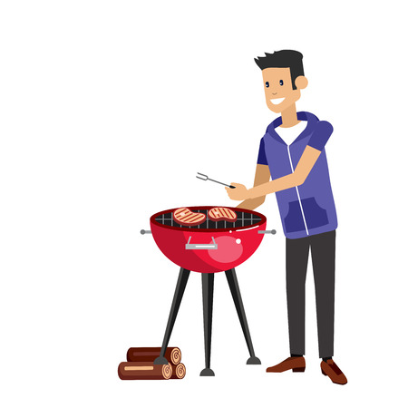 Vector character man chef cooking steaks on grill on picnic or Bbq party. Food and barbeque, summer and grill. Vector barbeque party, illustration barbeque party
