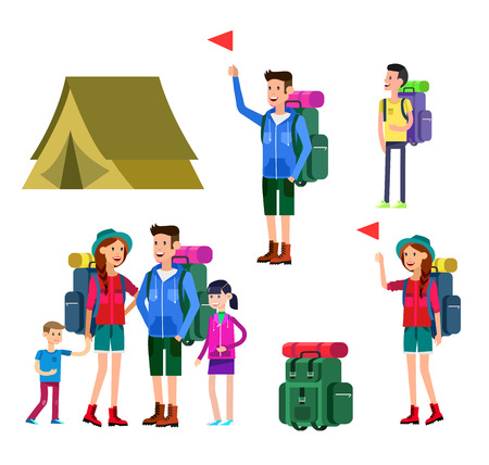 counselor: vector illustration of kids summer camp. Vector characters   camp counselor and children. Camping banner and icon,  family camping. Vector family camping. Illustration  family camping