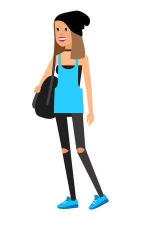 casual clothing: Vector detailed characters people, character business women or sudent, woman in casual clothing style. Business women, character creative woman, people lifestyle isolated on white background
