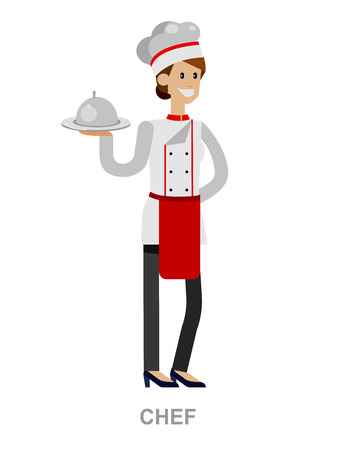 socialize: Vector detailed character people, character woman Chef. Restaurant team people character. Vector restaurant illustration Illustration