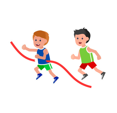 runs: Cute vector character child playing football, basketball, a child playing with a kite, a child runs. Cheerful child. Happy boy kid illustration. Detailed character child