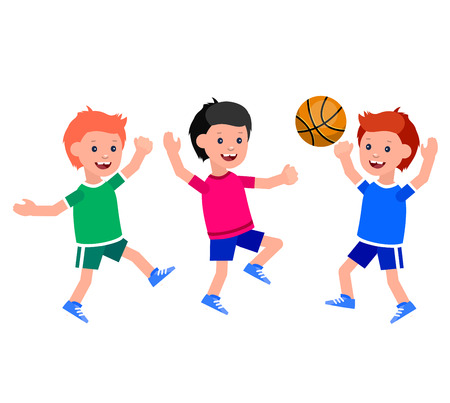 futbol infantil: Car�cter lindo del vector ni�o que juega al baloncesto, ni�o corre. El ni�o alegre. Ilustraci�n feliz ni�o chico. ni�o car�cter detallada. Ilustraci�n feliz ni�o chico. ni�o car�cter detallada