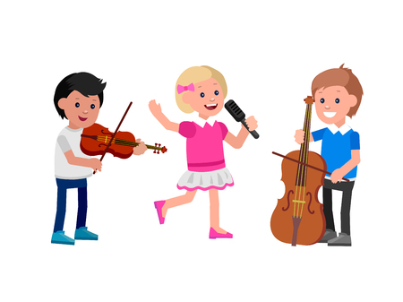 contrabass: Cute vector character child. Happy kid team playing on contrabass, singing, playing on violin. Education and child development. Banner for kindergarten, children club or school of Arts, music school
