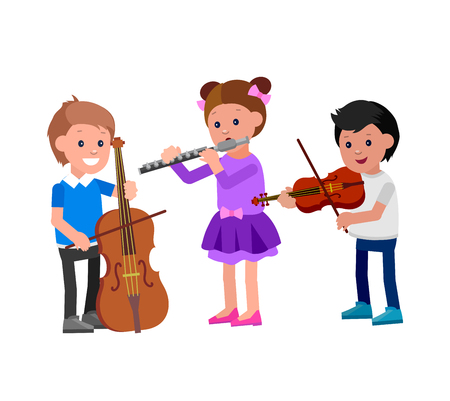 Cute vector character child. Happy kid team playing on contrabass, on flute, playing on violin. Education and child development. Banner for kindergarten, children club or school of Arts, music school Illustration