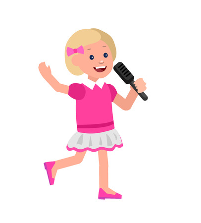 sings: Cute vector character child. Happy kid girl sings. Education and child development. Banner for kindergarten, children club or school of Arts, music school Illustration