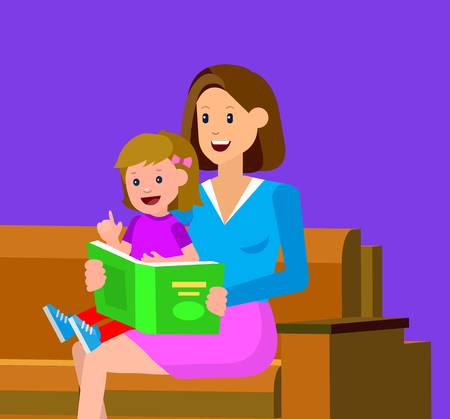 day dreaming: Cute vector character child with mother reading book. Education and child development. Banner for the kindergarten or children club, school of Arts