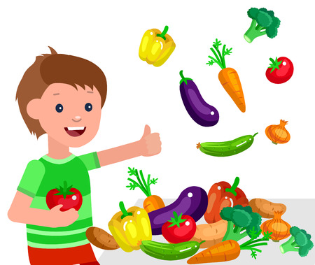 Cute vector character child and healthy food. Child boy with vegetables, cooking. Happy kid illustration. Detailed character child. Vector fun child.