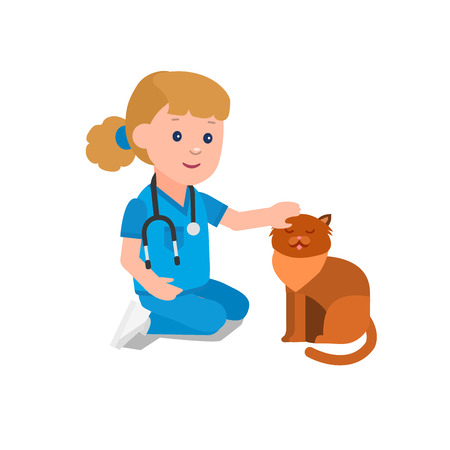 kid doctor: Cute vector character child. Kid playing to be a doctor or nurse with animal. Happy kid illustration. Detailed character child. Vector fun child.