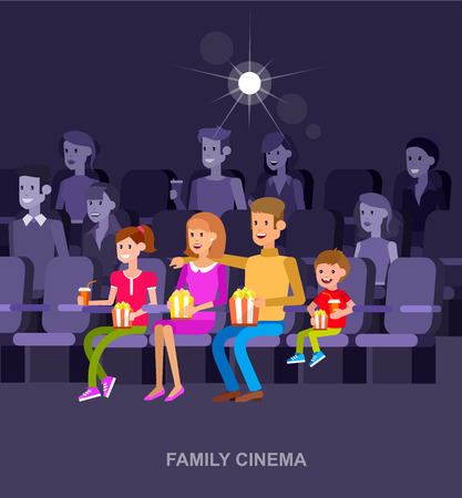 son of man: Family Cinema movie poster or banner template, popcorn, 3D glasses, concept banner. Cinema hall. Rest with family in the cinema. Cute vector character people