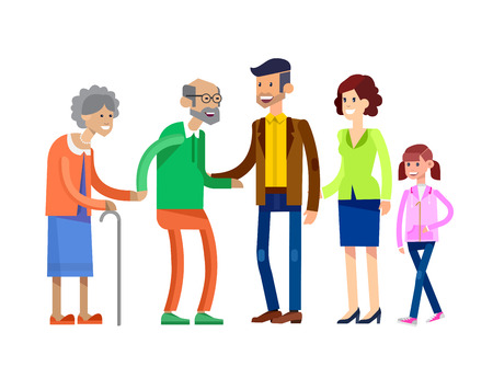 Detailed character people family, old parents and adult son with his wife and daughter. Family illustration. Grandmother, grandfather and granddaughter. Vector Family isolated on white background Illustration