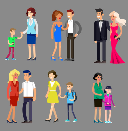 gay family: Detailed character people family, parents with kids, couple, family with children, gay family. Vector family character. Illustration family people Illustration