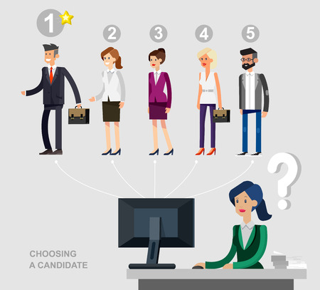 recruit suit: Hiring process concept with candidate selection. Vector detailed character hiring process, Hiring process cool flat  illustration. Vector Hiring process concept