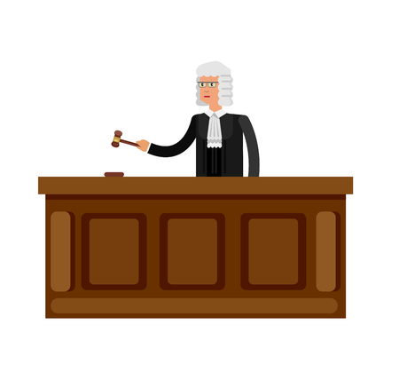 judiciary: Law Vector detailed character the judge. Law cool flat  illustration judge, judge vector. Illustration judge isolated on white background. Character  judge