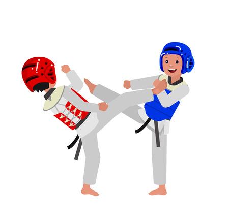 girl fist: Cute vector character child and taekwondo. Illustration for martial art poster. Kid wearing kimono and taekwondo training. Vector fun child. Illustration of Kid and Sport. Child take fighting pose