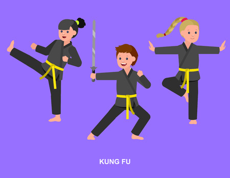 kung fu: Cute vector character child. Illustration for martial art kung fu poster. Kid wearing kimono and training kung fu. Vector fun child. Illustration of Kid and Sport. Child take kung fu fighting pose