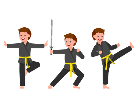 kung: Cute vector character child. Illustration for martial art kung fu poster. Kid wearing kimono and training kung fu. Vector fun child. Illustration of Kid and Sport. Child take kung fu fighting pose