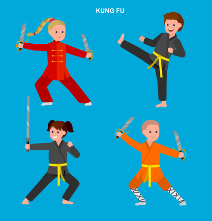 kung fu: Cute vector character kid Shaolin monk. Illustration for martial art kung fu poster. Kid wearing kimono and training kung fu. Child take kung fu fighting pose Illustration