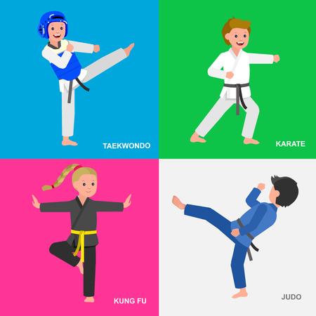 girl fist: Cute vector character child. Illustration for martial art taekwondo, karate, judo, kung fu. Kid wearing kimono and training. Child take fighting pose